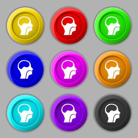 larynx: larynx, Medical Doctors Otolaryngology icon sign. symbol on nine round colourful buttons. illustration