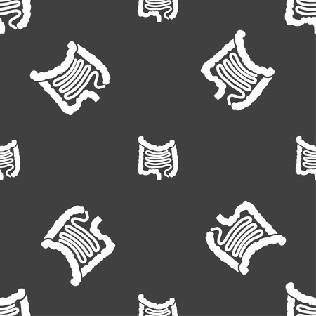 ileum: Intestines sign. Seamless pattern on a gray background. illustration Stock Photo