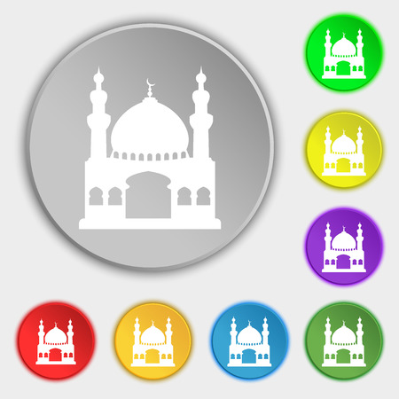 anatolia: Turkish architecture, mosque icon sign. Symbol on eight flat buttons. illustration