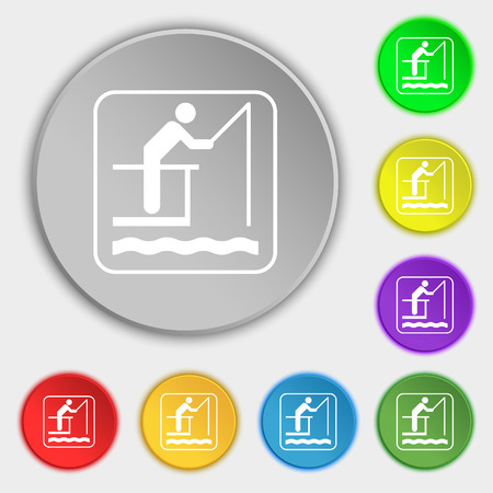 floater: fishing icon sign. Symbol on eight flat buttons. illustration