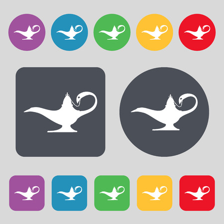 alladin: Alladin lamp genie icon sign. A set of 12 colored buttons. Flat design. illustration