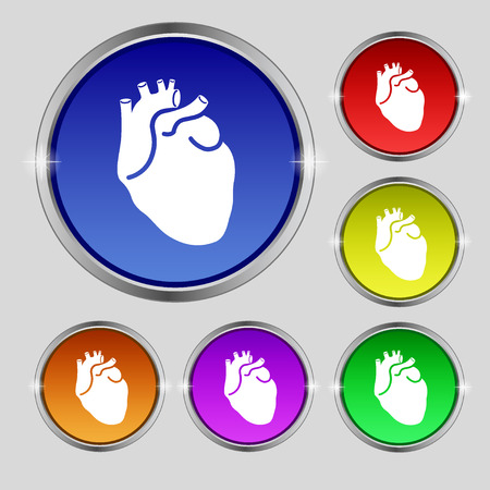 vena: Human heart icon sign. Round symbol on bright colourful buttons. illustration Stock Photo