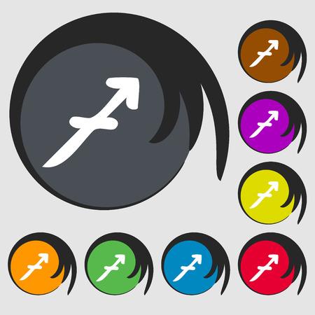 longbow: Sagittarius sign icon. Symbols on eight colored buttons. illustration