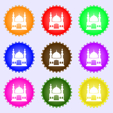 eastern spirituality: Turkish architecture, mosque icon sign. Big set of colorful, diverse, high-quality buttons. illustration