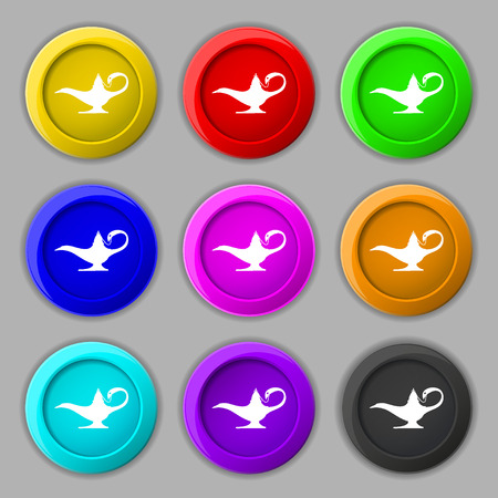 alladin: Alladin lamp genie icon sign. symbol on nine round colourful buttons. illustration Stock Photo