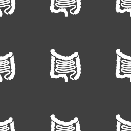 alimentary canal: Intestines sign. Seamless pattern on a gray background. illustration Stock Photo