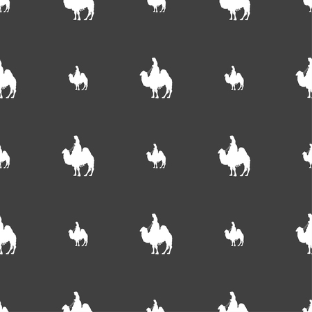 sand asia: Camel sign. Seamless pattern on a gray background. illustration