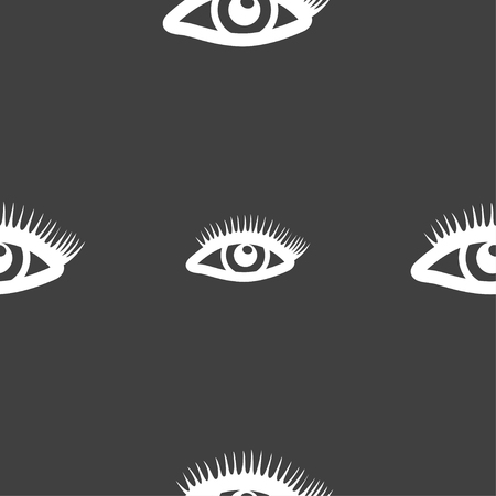 women face stare: eyelashes sign. Seamless pattern on a gray background. illustration