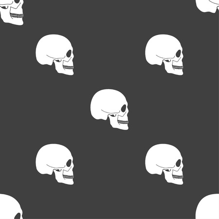 privateer: Skull sign. Seamless pattern on a gray background. illustration