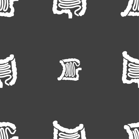 sigmoid colon: Intestines sign. Seamless pattern on a gray background. illustration Stock Photo