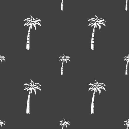palmtrees: Palm sign. Seamless pattern on a gray background. illustration Stock Photo