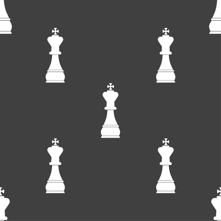 metaphorical: Chess king sign. Seamless pattern on a gray background. illustration