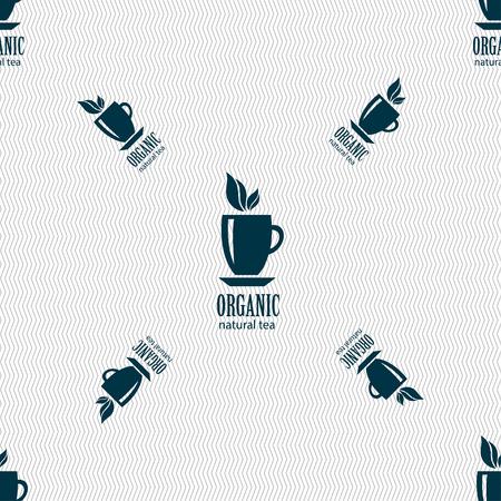 Organic natural tea sign. Seamless pattern with geometric texture. illustration