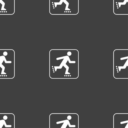 rollerskate: roller skating sign. Seamless pattern on a gray background. illustration Stock Photo