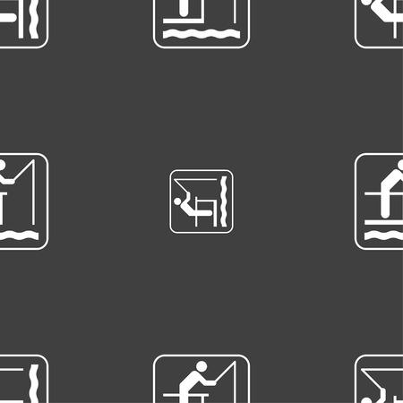 sinker: fishing sign. Seamless pattern on a gray background. illustration