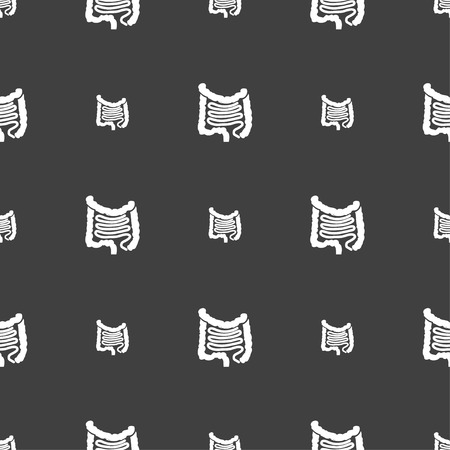 ileum: Intestines sign. Seamless pattern on a gray background. illustration Stock Photo