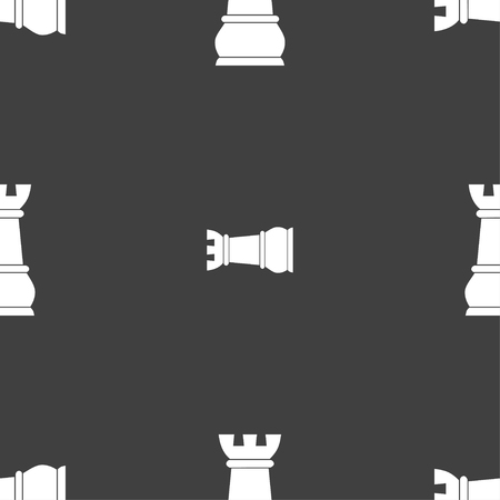 chess rook: Chess Rook sign. Seamless pattern on a gray background. illustration