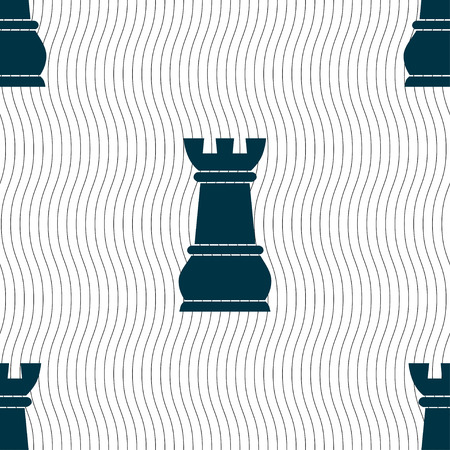 chessman: Chess Rook sign. Seamless pattern with geometric texture. illustration