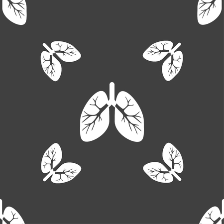 pulmones: Lungs sign. Seamless pattern on a gray background. illustration Stock Photo