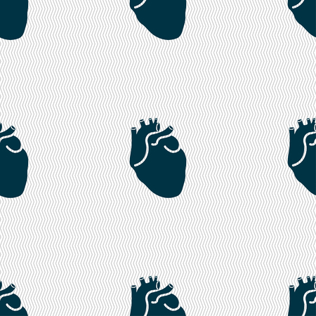 detail of heart muscle: Human heart sign. Seamless pattern with geometric texture. illustration