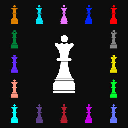 Chess Queen icon sign. Lots of colorful symbols for your design. illustration Stock Photo