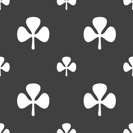 clover face: Clover sign. Seamless pattern on a gray background. illustration