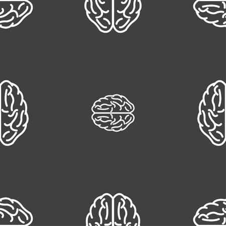 ponder: Brain sign. Seamless pattern on a gray background. illustration