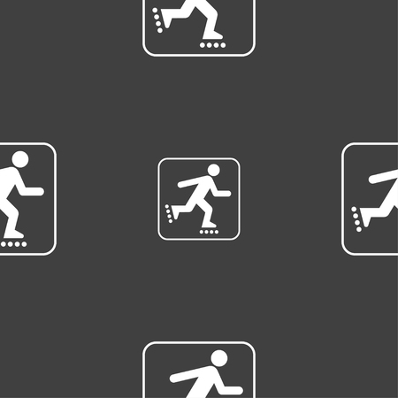 roller skating sign. Seamless pattern on a gray background. illustration Stock Photo
