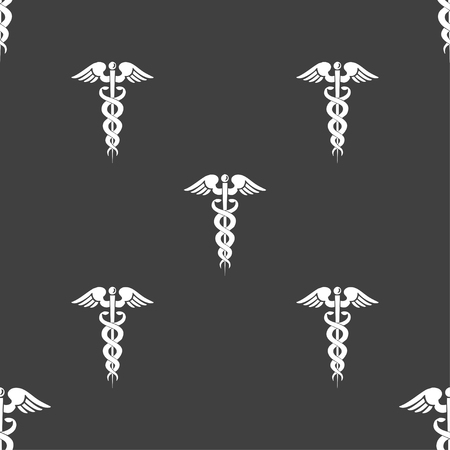aesculapius: medicine sign. Seamless pattern on a gray background. illustration