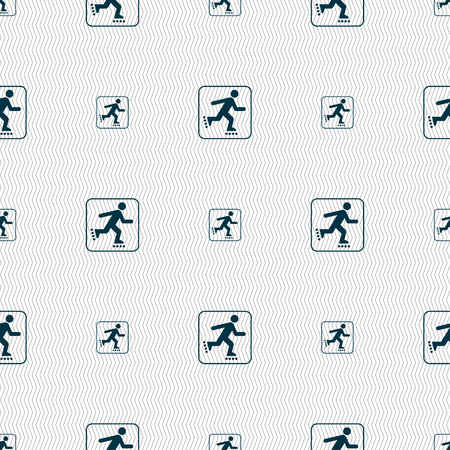 rollerskate: roller skating sign. Seamless pattern with geometric texture. illustration