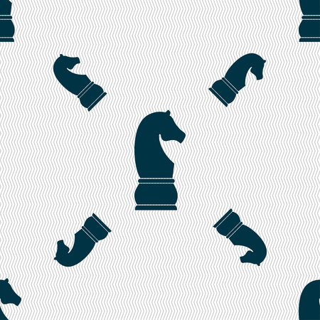 supremacy: Chess knight icon. sign. Seamless pattern with geometric texture. illustration