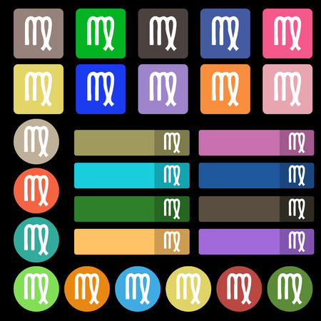 Virgo icon sign. Set from twenty seven multicolored flat buttons. illustration