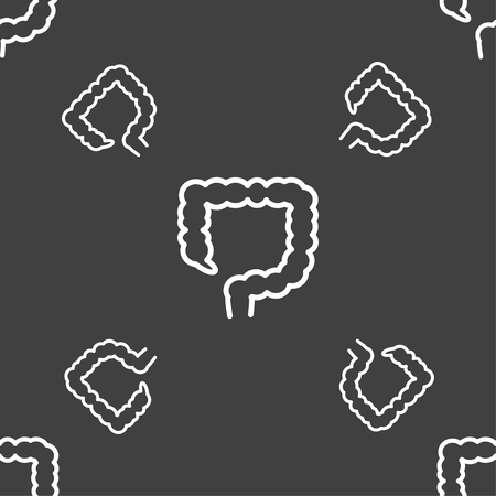 large intestine: large intestine sign. Seamless pattern on a gray background. illustration