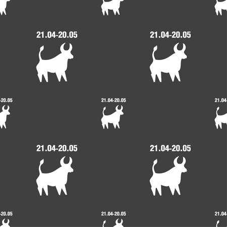 taurus sign: Taurus sign. Seamless pattern on a gray background. illustration