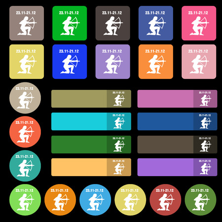 Sagittarius icon sign. Set from twenty seven multicolored flat buttons. illustration