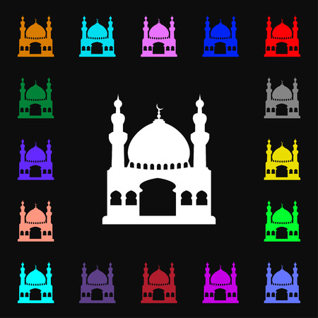anatolia: Turkish architecture, mosque icon sign. Lots of colorful symbols for your design. illustration