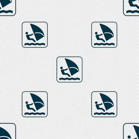 windsurfing: Windsurfing sign. Seamless pattern with geometric texture. illustration