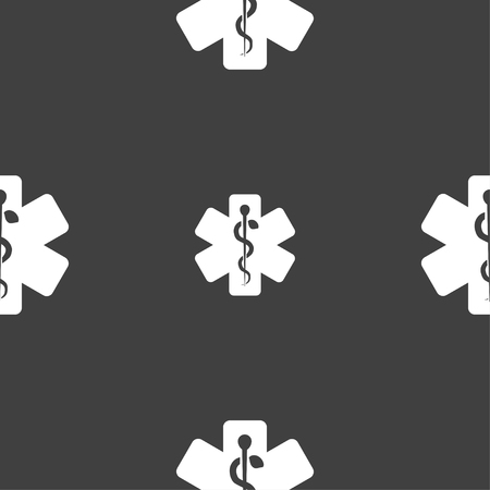 aesculapius: Medicine sign. Seamless pattern on a gray background. illustration Stock Photo