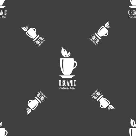 ceylon: Organic natural tea sign. Seamless pattern on a gray background. illustration