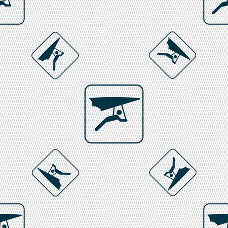 deltaplane: hang-gliding sign. Seamless pattern with geometric texture. illustration