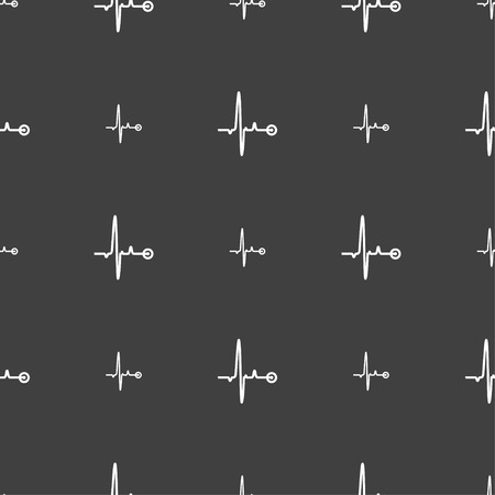 patient chart: Heartbeat sign. Seamless pattern on a gray background. illustration