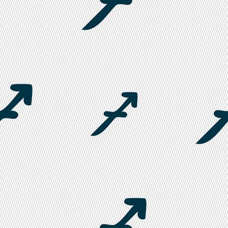 longbow: Sagittarius sign. Seamless pattern with geometric texture. illustration