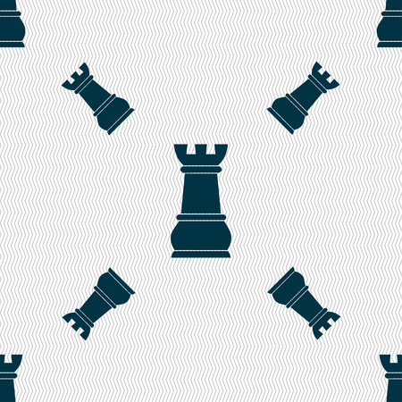 chess rook: Chess Rook sign. Seamless pattern with geometric texture. illustration