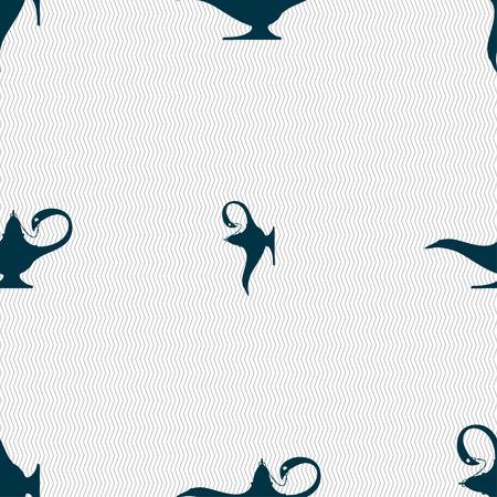 alladin: Alladin lamp genie sign. Seamless pattern with geometric texture. illustration Stock Photo