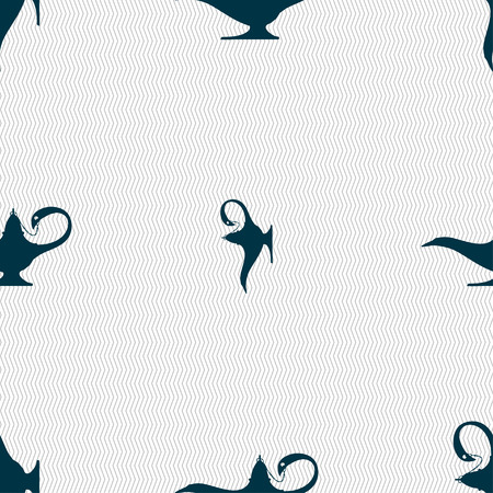 Alladin lamp genie sign. Seamless pattern with geometric texture. illustration Stock Photo