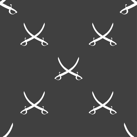 machete: Crossed saber sign. Seamless pattern on a gray background. illustration