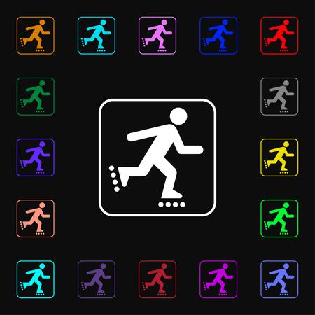 rollerskate: roller skating icon sign. Lots of colorful symbols for your design. illustration Stock Photo