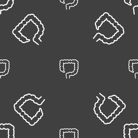 jejunum: large intestine sign. Seamless pattern on a gray background. illustration