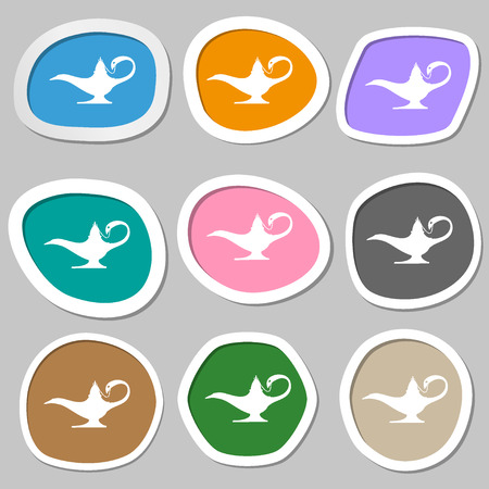 Alladin lamp genie symbols. Multicolored paper stickers. illustration
