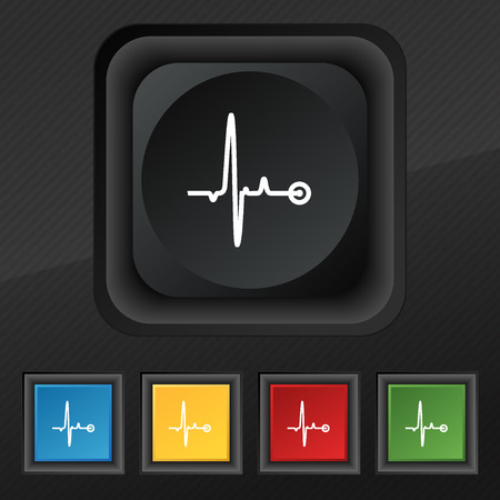 pulsating: Heartbeat icon symbol. Set of five colorful, stylish buttons on black texture for your design. illustration